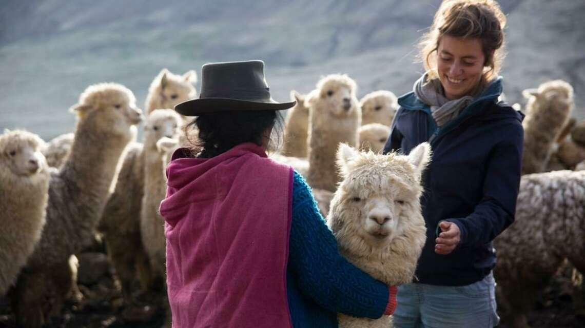 Margot with alpaca and farmer Jasper Van der Linden